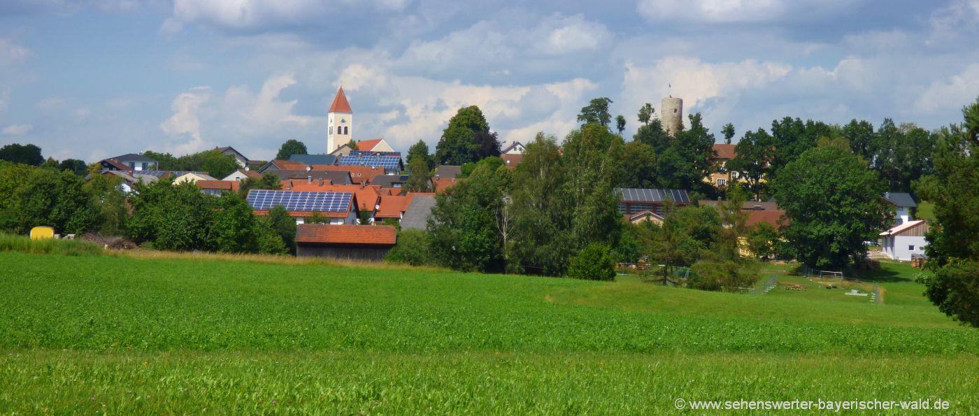 Ausflugsziele Treffelstein Ort mit Burgturm & Kirchturm